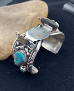 Old Pawn Native American Sterling Silver Watch Bracelet KINGMAN TURQUOISE 01806