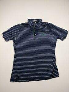 Peter Millar Mens Medium Blue Green Striped Short Sleeve Golfing Polo Shirt