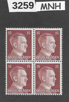 #3259  MNH stamp block of 4 / PF15 Sc514 / WWII Germany Third Reich Adolf Hitler
