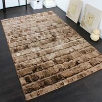 Modern Brown Rug Beige Pattern Living Room Carpet Bricks Stone Wall Small Extra