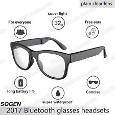 Sogen Bluetooth Occhiali Telefono Musica conduzione ossea HI-TECH Plain LENTE TRASPARENTE