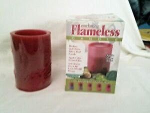 """Flameless Candle Burgundy 4"""" H x 3"""" Round, Apple Cider Scent, Color Changing"""