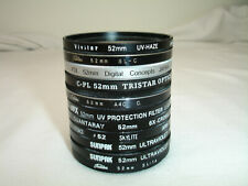 Lot of 11 52mm lens filters Skylight, 1A, UV, C-PL, FLD, 6X-CROSS  AS IS ( #166)
