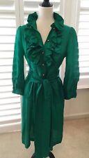 *NWOT*HEIDI MERRICK 100% Silk Dress,6,Ruffled Neckline & Front,Emerald Green