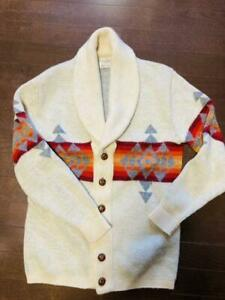 PENDLETON Authentic Native Pattern Sweater Cardigan Wool Size L Used from Japan