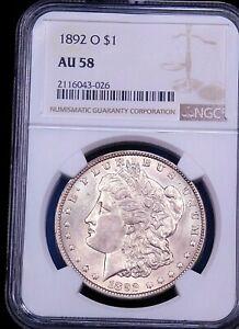 1892-O Morgan Silver Dollar NGC AU58 Bright with Good Luster PQ #G565