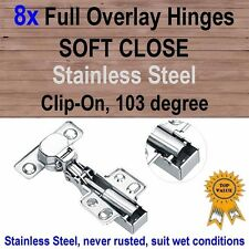 8x Door Kitchen Cabinet Cupboard Soft Close Full Overlay Hinges -Stainless Steel