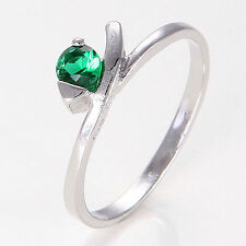 GORGEOUS 18K WHITE GOLD FILLED EMERALD SOLITAIRE RING Sz 7.5  (3M185)