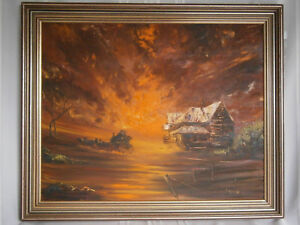 """Large Retro Vintage Peter Gasson """"And Our Story Begins"""" Oil Painting 1970's Aust"""