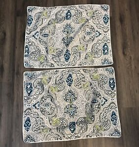 Tahari Home Set of 2 Sham Pillow Cases, Grey Blue Green White Paisley Floral