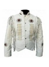 New Cowboy Western Wear Men White Leather Jacket Fringes Beads