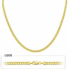 """4.00mm 24"""" 13.80gm 14k Solid Gold Yellow Mens Flat Cuban Necklace Polished Chain"""