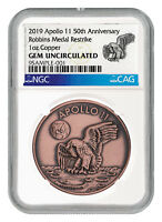 2019 Apollo 11 50th Anv Robbins Medal 1 oz Copper Antiqued NGC GEM Unc SKU55121