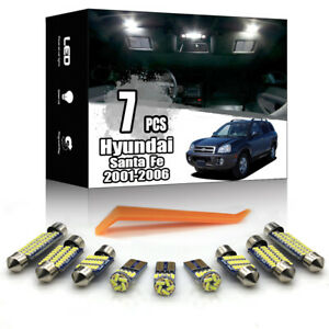 7x Car Interior LED Lighting Package Kit White for Hyundai Santa Fe 2001-2006
