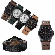 Mens Boys Sports Watches Waterproof Leather Band Dial Analog Quartz Wrist Watch
