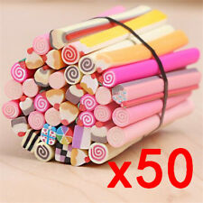 50pcs Fimo Polymer Clay Cane Nail Stickers DIY Nail Art Decal ~ Cake t