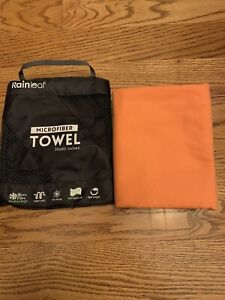 "Rainleaf Antibacterial Lightweight Microfiber Towel Orange Size 30x60"""