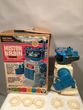 Vintage 1970 Mister Brain Robot in Box, 6 Memory Disc Smoke Remco 7086 Tested