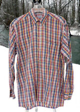 "BULLOCK & JONES SHIRT M 15 X 35  48"" CHEST RED YELLOW BLUE MADRAS PLAID SWISS"