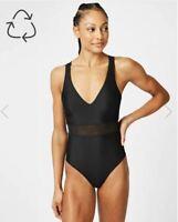 Sweaty Betty Lido Mesh Swimsuit Black Size M Medium
