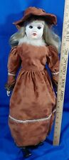 "24"" LARGE Bisque Porcelain VTG Doll Antique-Victorian-Style Dress Black Boots"