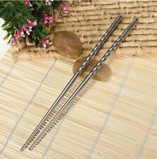 2 Pairs Non-slip Silver Chinese Stainless Steel Chopsticks Fashion Chop Sticks