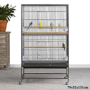 131cm Wrought Iron Bird Cage Cockatiel Parrot Aviary Budgie Finch Flight Cage