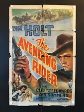 "The Avenging Rider Original Movie Poster 1942 - 27"" x 41"" RARE POSTER"