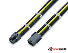 6 Pin Black Yellow 30cm PCIE GPU Extension Sleeved + 2 Free cable Combs Shakmods