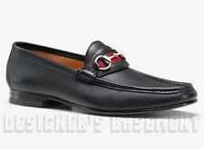 GUCCI mens 12 D* black leather WEB ribbon HORSEBIT Loafers shoes NIB Authentic!