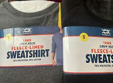 Bridgeport Crew Neck Fleece-Lined Mens Sweatshirt Jumper Black/Grey /S/M