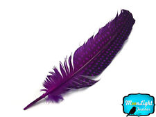 10 Pieces - PURPLE Polka Dot Guinea Fowl Wing quills Feathers
