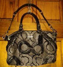 Coach Madison Signature Op Art Sophia Sequin Metallic Satchel Shoulder Bag 15945