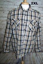 PJ Mark Men Shirt 2XL Long Roll Sleeves Black White Plaid Cotton Epaulets Casual