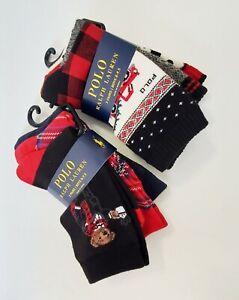 2 Polo Ralph Lauren Boys Crew Socks 3 Pack Multi Sz 9-11 - NWT