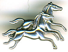 """925 Sterling Silver Pair Galloping Horses Brooch / Pin W1.3/8""""  Racehorse Racing"""