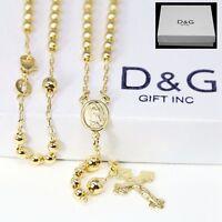 "DG Unisex 18"" Gold-Filled,18K Gold Rosary VIRGIN MARY+ JESUS CROSS Necklace *BOX"