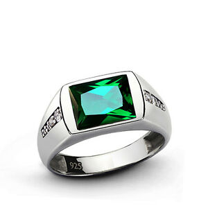 Men's EMERALD Ring with NATURAL DIAMONDS 0.08ctw SOLID 925 Sterling Silver