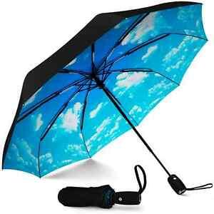 Repel Blue Sky Windproof Travel Umbrella With Teflon Coating