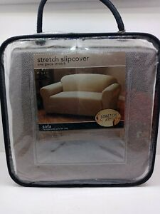 """Sofa Stretch Slipcover,One piece, brown pinstripe fits up to 88"""" Machine wash"""