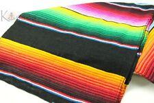 New Authentic Serape Mexican Table Runner Saltillo Sarape Colorful Striped Black