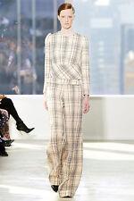 DELPOZO $2050 structured shoulder FW14 runway blazer plaid wool jacket 42/10 NEW