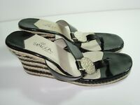 WOMENS BLACK TAN PATENT LEATHER FLIP FLOPS THONGS SANDALS HEELS SHOES SIZE 8.5 M