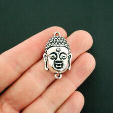 2 Buddha Connector Charms Antique Silver Tone Large Size - SC1083