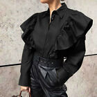 8-24 Womens Formal Retro Shirts Long Sleeve Tunic Tops Holiday Party Blouse Plus