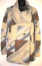 New Thread & Supply Aztec Ikat Print Long Coat Jacket Tan Teal Brown Small