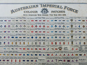 RARE ORIGINAL AUSTRALIAN AIF WW1 COLOUR PATCH HONOURS CHART LIGHT HORSE ETC