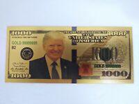 President Donald Trump $1000 Dollar Bill Gold Foil US Banknote