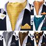 Plaids Paisley Mens Silk Ascot Cravat Tie Black Blue Green Hanky Cufflinks Set
