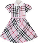 Sunny Fashion Girls Dress Pink Summer Back School Uniform White Collar Size 4-10